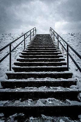 Iced stairs - p1170m2064570 by Bjanka Kadic