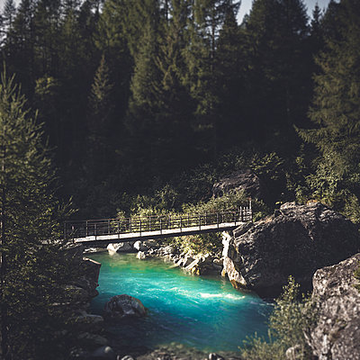 Footbridge over river Mallero against trees in forest, Lombardy, Italy - p300m2143698 by Dirk Wüstenhagen