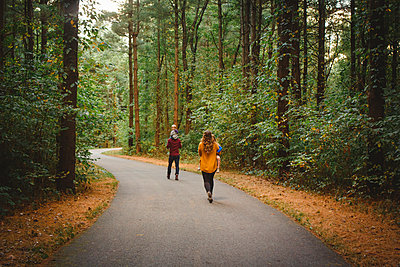 Rear-view of a family walking through a winding forest path in Autumn - p1166m2151935 by Cavan Images