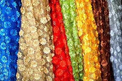Cholita Fashions, Silk Petticoats For Sale, Market, Indigenous Aymaran Clothing, La Paz, Bolivia - p651m860434 by John Coletti photography