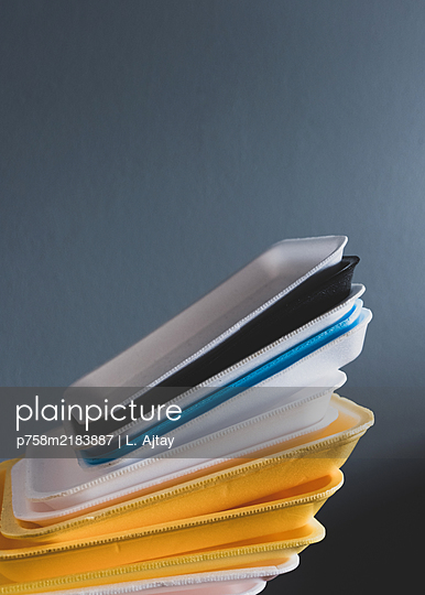 Plastic waste, stack of meat trays - p758m2183887 by L. Ajtay