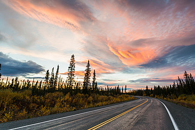 View of Richardson Highway northbound through taiga forest in fall at sunset, Interior Alaska - p442m1086822 by Michael DeYoung