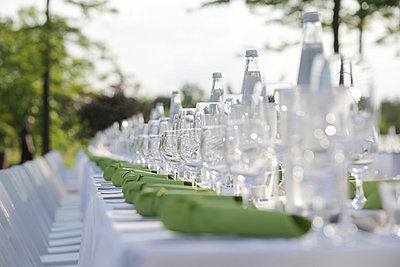 Festive laid table with green napkins and wine glasses - p300m982156f by Jan Tepass