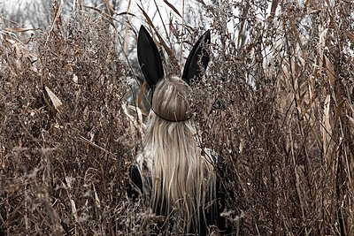 Woman in the woods wearing a rabbit mask.  - p896m1490492 by Rutger van der Bent