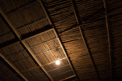 Bamboo ceiling and light bulb - p1177m1467451 by Philip Frowein
