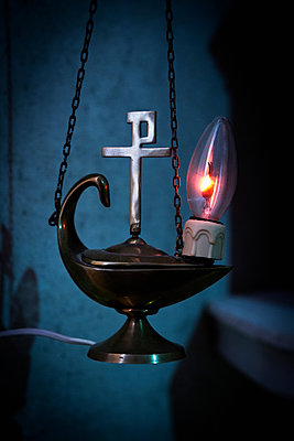 Lamp with christian symbol - p1149m1183295 by Yvonne Röder