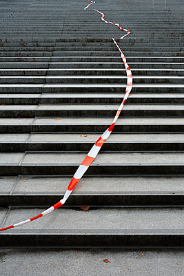 stone stairs and barrier tape - p876m2187323 by ganguin