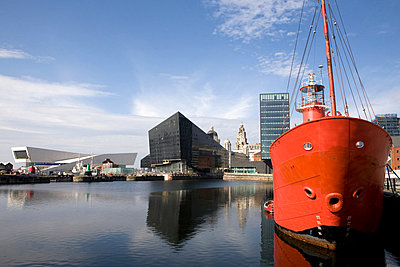 View of waterfront towards Museum of Liverpool and Royal Liver Building, Liverpool, UK - p92411743f by Elizabeth Ellen