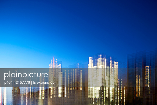 Illuminated office buildings - p464m2157778 by Elektrons 08