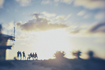 silhouette of a small group of people staring into a sunset - p1072m1163388 by Stephen Allsopp
