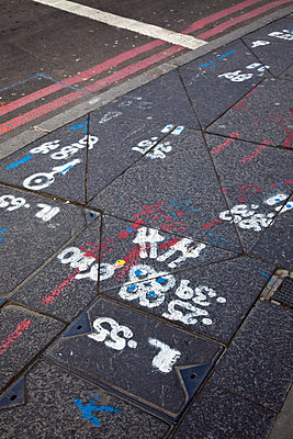 Markings on pavement and road - p388m701613 by Ulrike Leyens