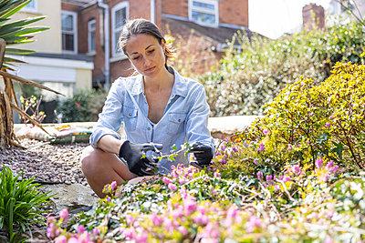 Female freelancer working in garden - p300m2282905 by William Perugini