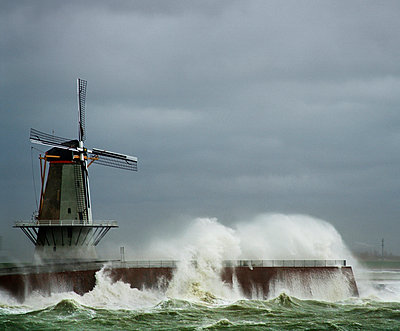 Vlissingen Windmill during storm - p1132m925541 by Mischa Keijser