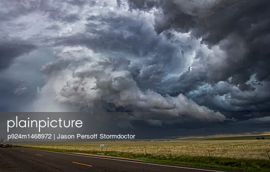 Tornadic thunderstorm over rural area, Cope, Colorado, United States, North America