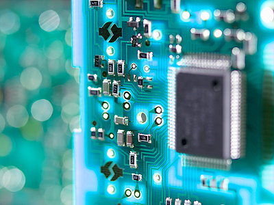 Close up of a circuit board used to connect electrical components to form a circuit - p429m1027753f by Andrew Brookes