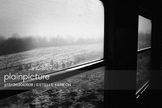 Snowy landscape seen from the train - p1513m2043938 by ESTELLE FENECH
