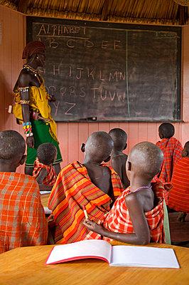 Young Samburu children in their lessons at Ol Malo school - p6521137 by John Warburton-Lee