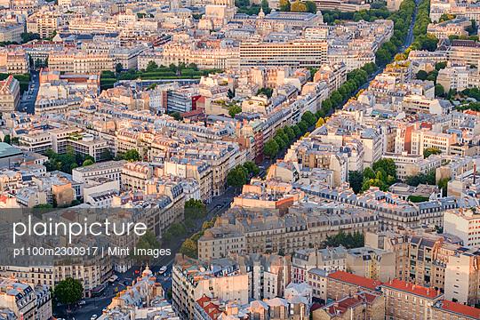 View of boulevard running through Paris residential neighbourhood. - p1100m2300917 by Mint Images