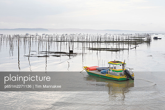 France, Nouvelle-Aquitaine, Gironde, Arcachon Bay, a fishing boat is moored by oyster beds at Andernos-les-Bains - p651m2271136 by Tim Mannakee
