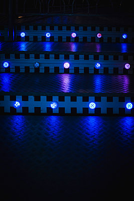 Lighting on a staircaseBlue Neon - p1150m2128681 by Elise Ortiou Campion