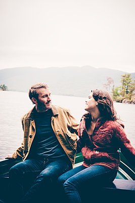 Lake George Fall Couples Portrait  - p1086m1488765 by Carrie Marie Burr
