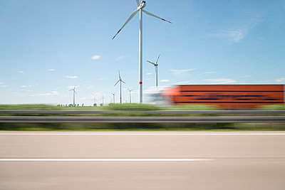 Wind farm blurred view - p335m1152375 by Andreas Körner
