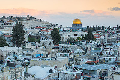 View over Muslim Quarter towards Dome of the Rock, Jerusalem, Israel, Middle East - p871m2069004 by Jane Sweeney