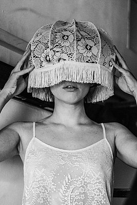 Lamp shade on head - p1567m2172683 by Claire Picheyre