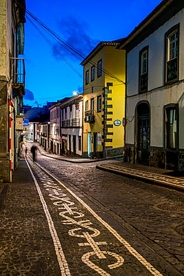 Street At Night; Ponta Delgada, Sao Miguel, Azores, Portugal - p442m2039274 by Dosfotos