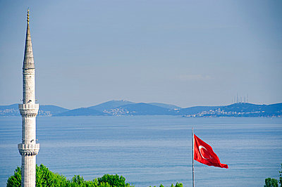Turkish flag and minaret, Blue Mosque - p6521052 by Nick Laing