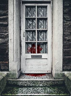 Old 1970s door with net curtains and blood - p1280m2185579 by Dave Wall