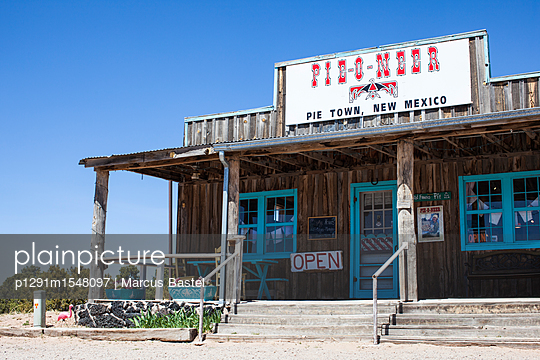 old wooden building housing the Pie-o-neer café in Pie town New Mexico - p1291m1548097 by Marcus Bastel