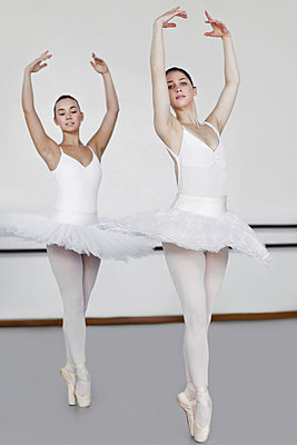 Women in ballet costumes dancing - p42916209f by Hybrid Images