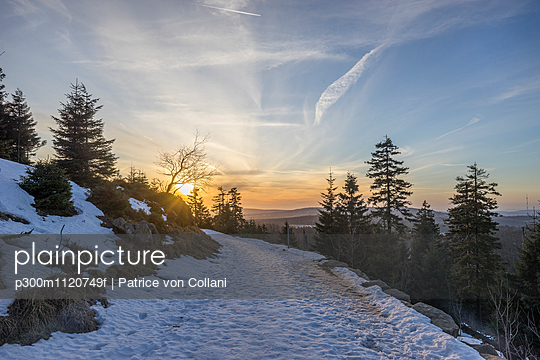 Germany, Saxony-Anhalt, Harz National Park, path in winter - p300m1120749f by Patrice von Collani