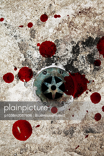 Sink with blood spots - p1038m2087606 by BlueHouseProject
