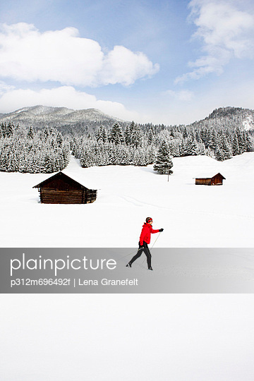 Man skiing in scenic landscape