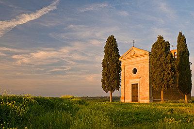Chapel Madonna di Vitaleta, Val d'Orcia, near Pienza, Tuscany, Italy, Europe - p8713192 by John Woodworth