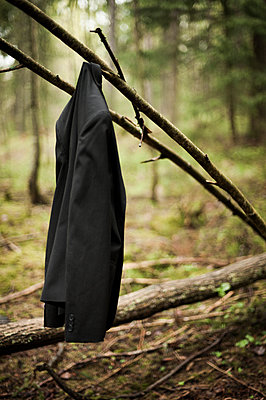 Jacket hanging in the woods - p971m911930 by Reilika Landen
