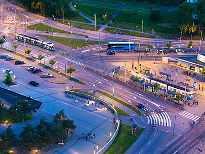 High angle view of road intersection - p312m1063717f by Stefan Isaksson