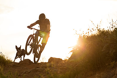 Mountain biker riding bicycle with dog running along, Bonneville Shoreline Trail, Salt Lake City, Utah, USA - p343m1520857 by Wray Sinclair
