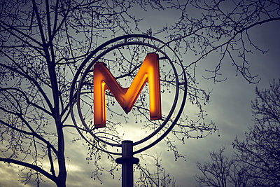 Illuminated Sign of a subway station in Paris - p1312m2164040 by Axel Killian