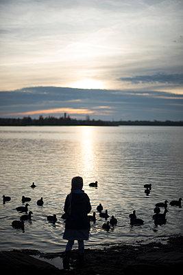 Kind am See mit Enten - p1509m2045018 von Romy Rolletschke