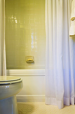 Tile Shower and White Shower Curtain in Traditional Bathroom - p5550986f by LOOK Photography