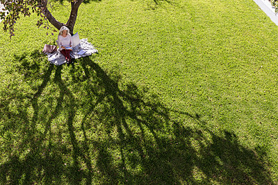 Businesswoman working on blanket below tree in sunny yard - p1023m1406892 by Martin Barraud