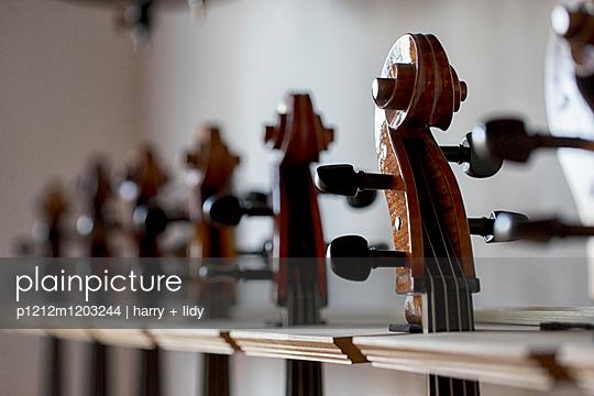 Celli beim Geigenbauer - p1212m1203244 von harry + lidy