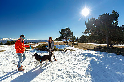 Couple with dog in snow covered landscape - p429m1407938 by Quim Roser