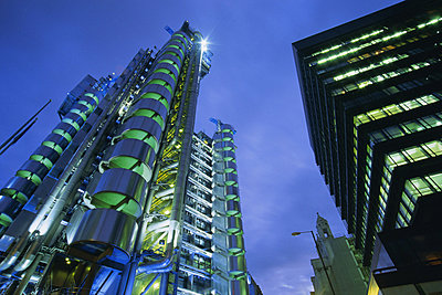 Lloyds Building at night, City of London, London, England, UK, Europe - p8710401 by Lee Frost