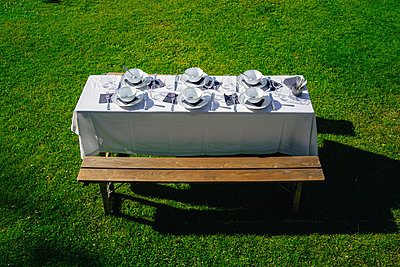 Laid table in the garden on the lawn - p1053m2168304 by Joern Rynio