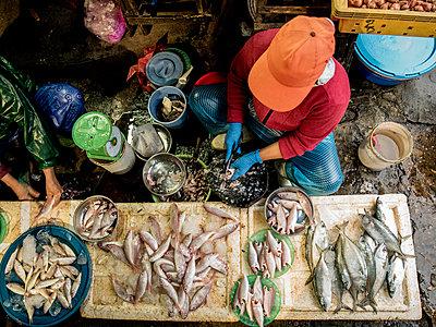 Händler auf dem Fischmarkt - p393m1452253 von Manuel Krug
