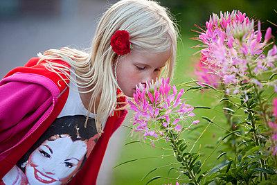 Little girl smelling flower - p896m835617 by Arenda Oomen
